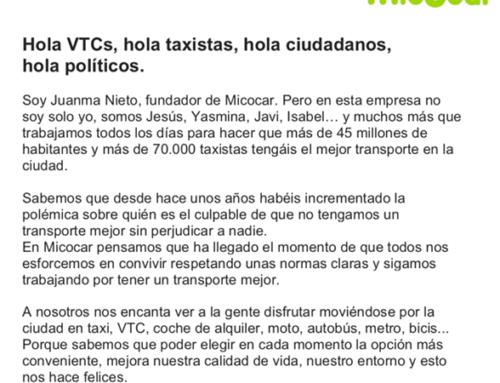 Hola VTCs, hola taxistas, hola ciudadanos, hola políticos.